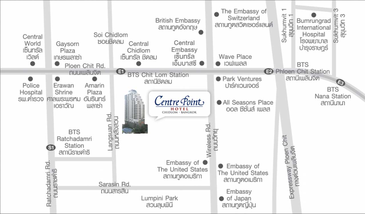 Centre Point Hotel Chidlom - Map