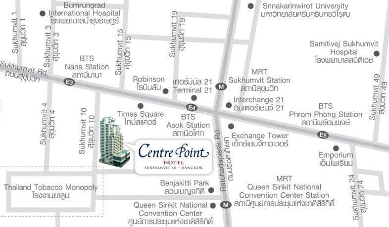 Centre Point Hotel Sukhumvit 10 - Map